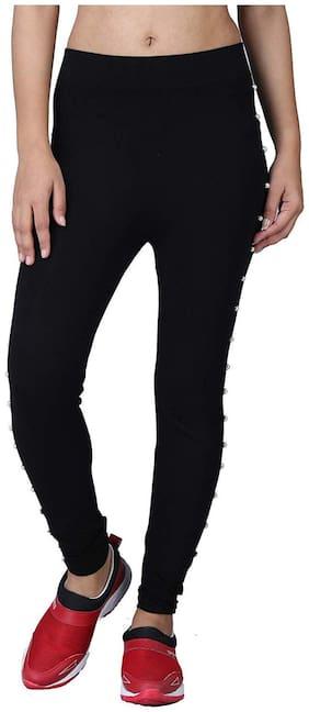 Desha Traders Women Skinny Fit Mid Rise Solid Jegging - Black