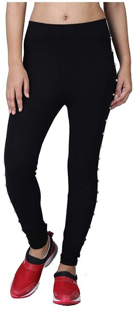 Desha Traders Women Skinny Fit Mid Rise Solid Jegging - Black