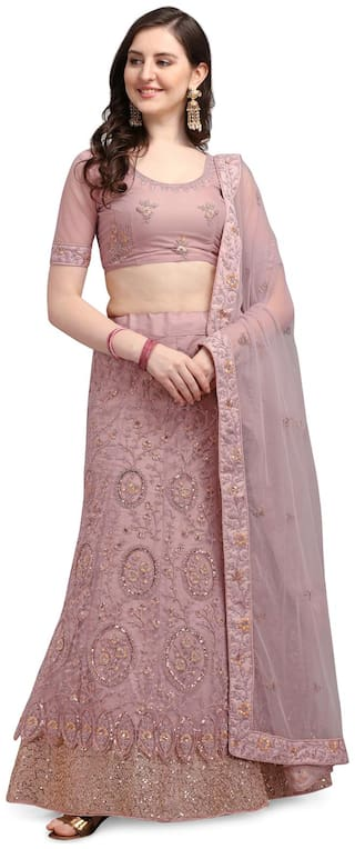 Swaron Dusty Pink Sequence Embroidery Net Lehenga Choli with Dupatta