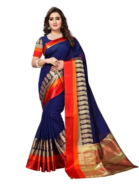 Swaron Navy Blue and Golden Colored Maheshwari Cotton Silk Saree with Unstithced Blouse Piece
