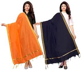 Swaron Orange;Navy Blue Cotton Silk Dyed;Zari Patta Dupatta Combo Pack of 2