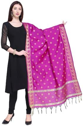 Swaron Pink Poly Silk Jacqaurd Dupatta