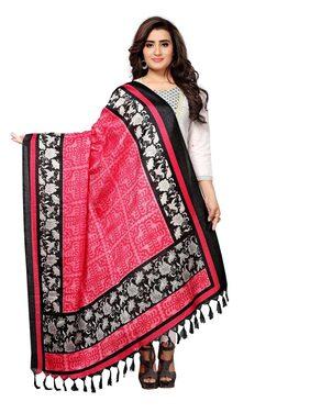 Swaron Pink Printed Bhagalpuri Silk Dupatta