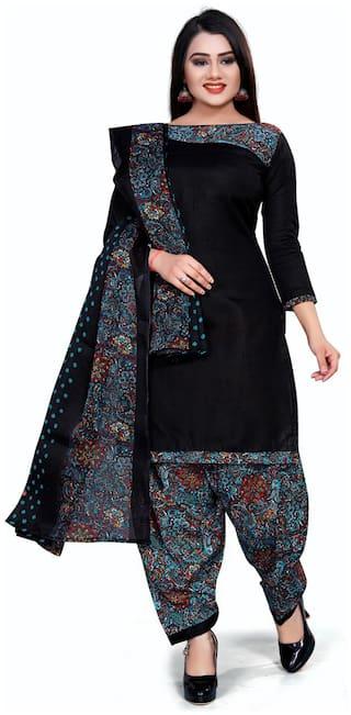 Swaron Black Unstitched Kurta with bottom & dupatta With dupatta Dress Material