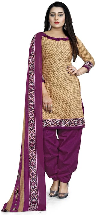 Swaron Pure Cotton Tan Printed Kurta with Bottom & Dupatta  For Women