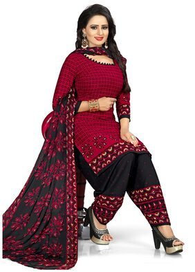 Swaron Red and Black Colored Crepe Printed Unstitched Dress Material