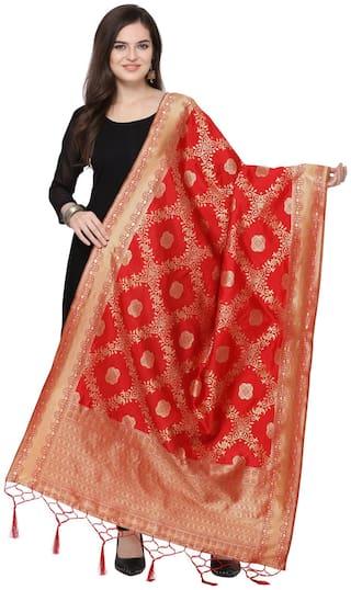 Swaron Red Poly Silk Banarasi Jacquard Dupatta