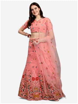 Swaron Rose Pink Embroidery Poly Silk Lehenga Choli with Dupatta