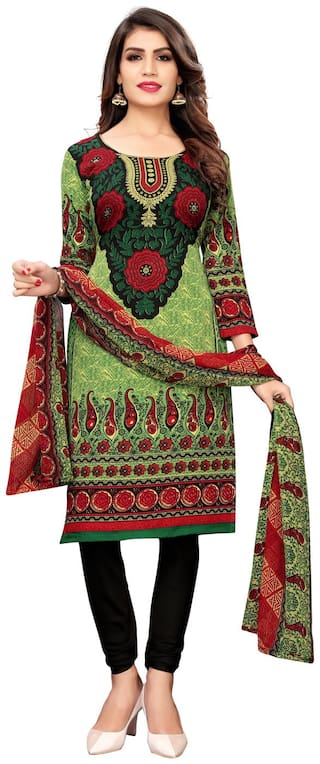 Swaron Green Unstitched Kurta with bottom & dupatta With dupatta Dress Material