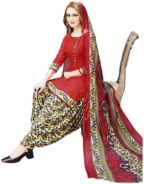 Swaron Red Unstitched Kurta with bottom & dupatta With dupatta Dress Material