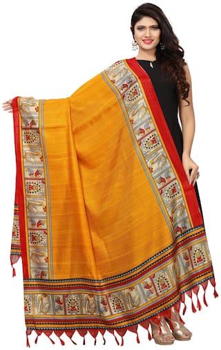Swaron Women Silk Printed Dupatta Yellow