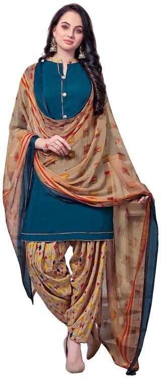 Swaron Turquoise Unstitched Kurta with bottom & dupatta With dupatta Dress Material