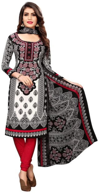 Swaron Black Unstitched Kurta with bottom & dupatta With dupatta Dress Material