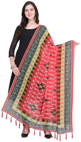 Swaron Women Cotton Printed Dupatta Red