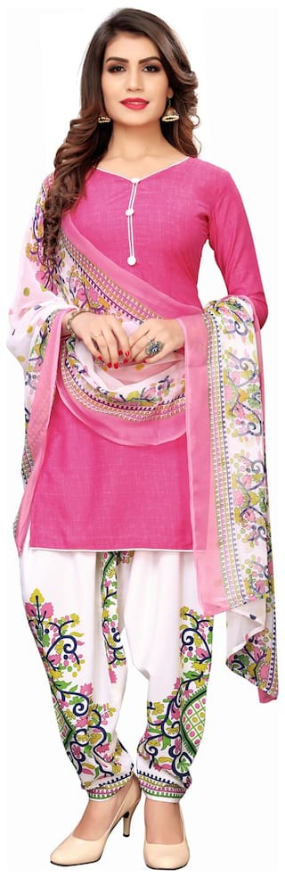 Swaron Pink Unstitched Kurta with bottom & dupatta With dupatta Dress Material