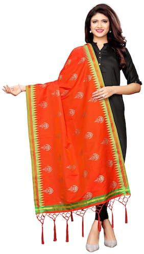 Swaron Women Blended Printed Dupatta Orange