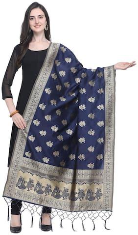 Swaron Women Silk Floral Dupatta Navy Blue