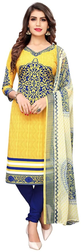 Swaron Yellow Unstitched Kurta with bottom & dupatta With dupatta Dress Material