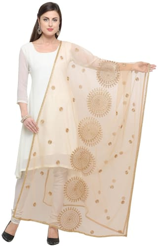 Swaron Women Net Printed Dupatta Beige