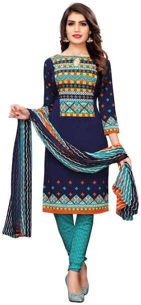 Swaron Navy blue Unstitched Kurta with bottom & dupatta With dupatta Dress Material