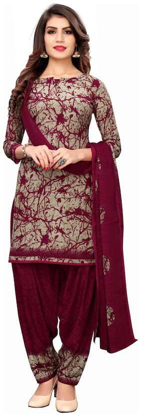 Swaron Beige Unstitched Kurta with bottom & dupatta With dupatta Dress Material