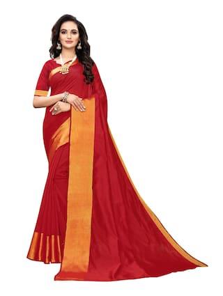 Swaron Women Red Chanderi Silk Saree With Unstiched Blouse Piece