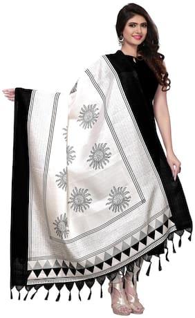 Swaron Women Silk Printed Dupatta White