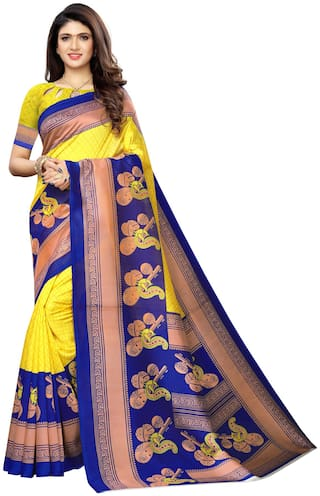 Swaron Womens Silk Printed Party Wear Saree With Unstitched Blouse Piece (Yellow)