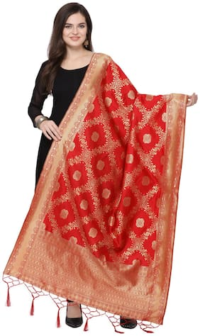 Swaron Women Silk Floral Dupatta Red