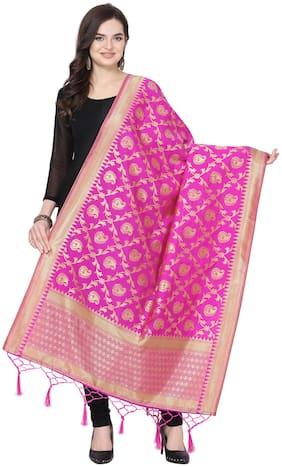 Swaron Women Silk Dupatta Pink