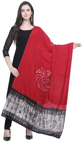 Swaron Women Cotton Printed Dupatta Maroon