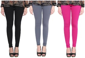 Cotton;Lycra Solid Leggings