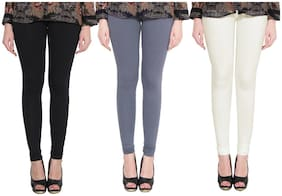 SWASTIK STUFFS Cotton & Lycra Leggings - Black & Grey