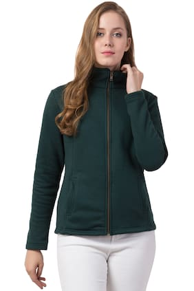 Dibiya Women Solid Sweatshirt - Green