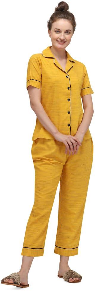 Sweattire Women Cotton Solid Top and Pyjama Set - Mustard