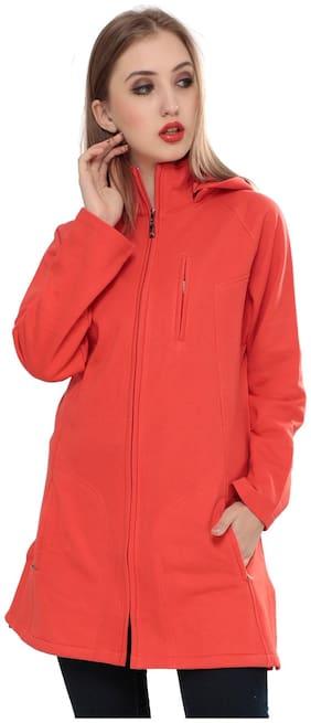 Sweekash Women Solid Regular fit Coat - Orange