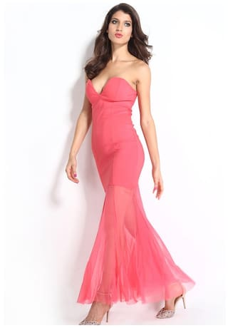 Fishtail Sheer Evening Dress Maxi Sweetheart g5fwpq