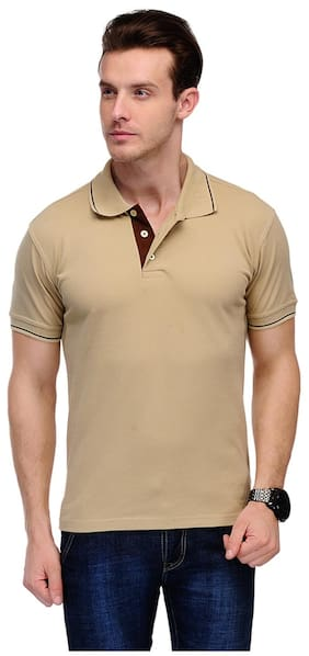 Switz Inc Men Beige Regular fit Cotton Polo collar T-Shirt - Pack Of 1