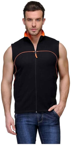 Scott Men Black Cotton Blend Jacket
