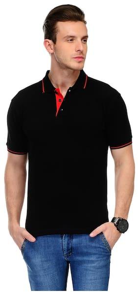 Switz Inc Men Black Regular fit Cotton Polo collar T-Shirt - Pack Of 1