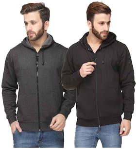 Scott Men Grey and Black Cotton Blend Jacket (Pack Of 2 Jacket)