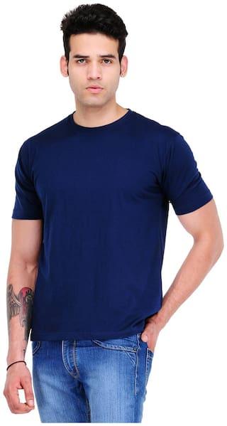 Scott International Men Blue Regular fit Cotton Round Neck T-Shirt