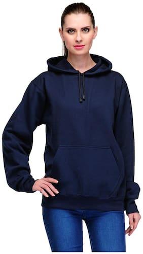 Scott Women Navy Blue Cotton Sweatshirt