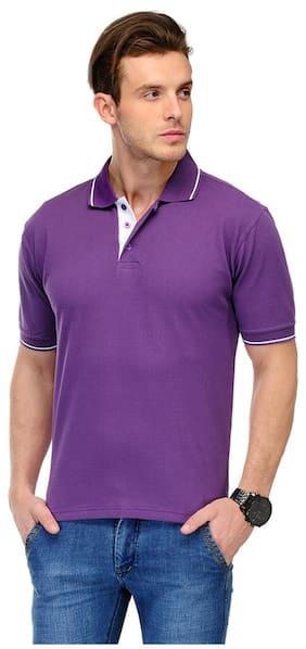 Switz Inc Men Purple Regular fit Cotton Polo collar T-Shirt - Pack Of 1