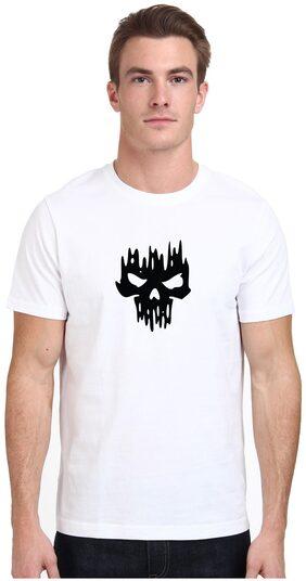 ROJANA FASHIONS Men Regular Fit Round Neck Graphic Print T-Shirt - White