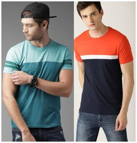 Stylogue Men Regular Fit Round Neck Colorblocked T-Shirt - Multi