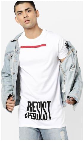 Stylogue Men Regular fit Round neck Colorblocked T-Shirt - White