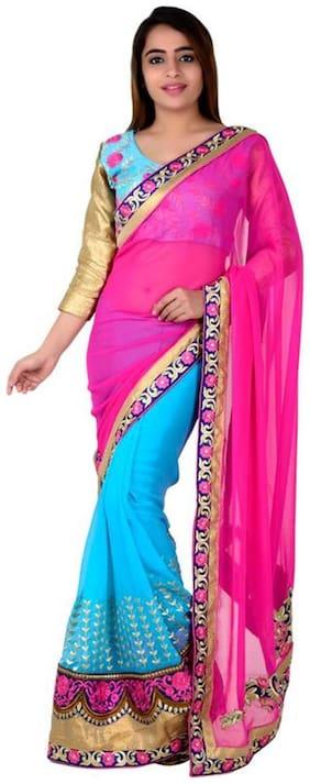 Taadrashya womens half and half georgette saree with blouse