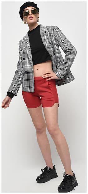 TAARUUSH Women Solid Regular shorts - Red