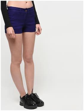 TAARUUSH Women Solid Regular shorts - Blue